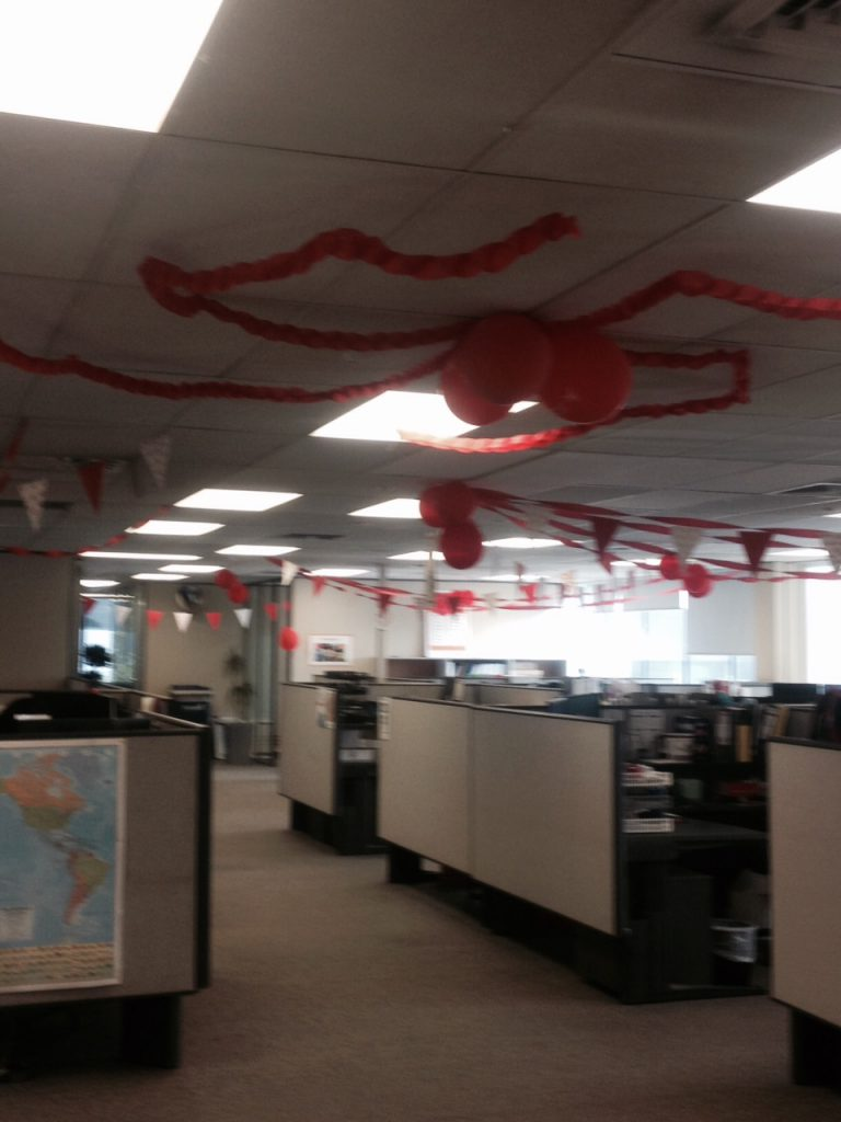 Avis Head Office REDiculous decorations