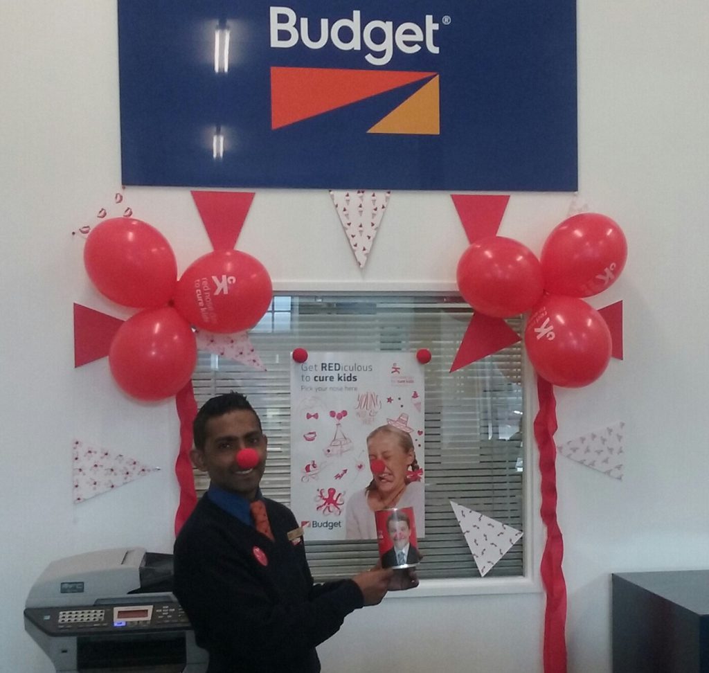 Budget Auckland are supporting Cure Kids with this REDiculous display