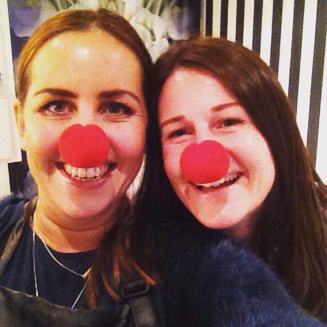 Natasha Radonich hairdressing with their red nose